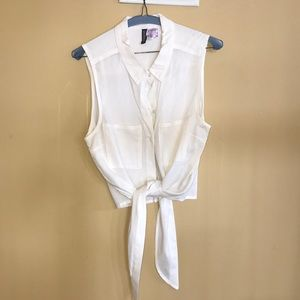 Divided white top with tie front